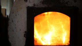 Il fuoco meravigliosamente è acceso in una stufa del ghisa Falò nella fornace archivi video