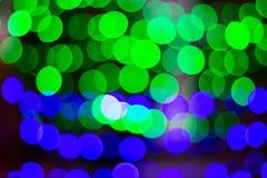 Il fuoco molle del bokeh della luce verde e del blu Fotografie Stock Libere da Diritti