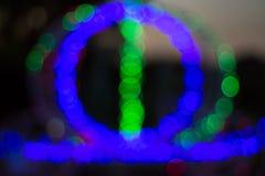 Il fuoco molle del bokeh della luce verde e del blu Immagine Stock