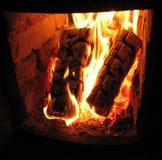 Il fuoco nella stufa Fotografia Stock Libera da Diritti
