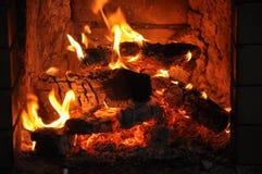 Il fuoco nella stufa Immagine Stock Libera da Diritti