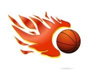 Il fuoco rosso e la sfera arancione di pallacanestro della mosca firmano Immagine Stock Libera da Diritti