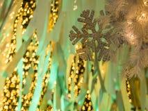 Il fuoco selettivo sulla priorità alta dei wi della decorazione del fiocco di neve Immagini Stock