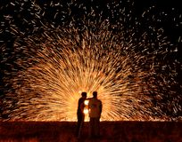 Il fuoco spinge dentro la hanukkah immagine stock libera da diritti