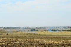 Il fuoco sul campo, erba asciutta brucia in autunno fotografia stock