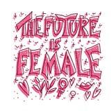 Il futuro è femminile Citazione disegnata a mano di vettore royalty illustrazione gratis