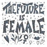 Il futuro è femminile Citazione disegnata a mano di vettore illustrazione di stock