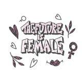 Il futuro è femminile Citazione disegnata a mano di vettore illustrazione vettoriale