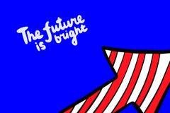 Il futuro è illustrazione disegnata a mano luminosa di vettore nello stile del catoon con l'iscrizione della freccia illustrazione di stock