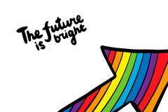 Il futuro è illustrazione disegnata a mano luminosa di vettore nello stile del catoon con l'iscrizione della freccia dell'arcobal illustrazione vettoriale