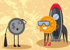 Il futuro di soldi Sia cryptocurrency i soldi futuri oppure no illustrazione di stock