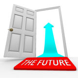 Il futuro - freccia della porta aperta della stuoia di portello royalty illustrazione gratis