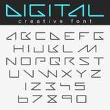 Il futuro futuristico di progettazione della fonte del robot segna i numeri con lettere royalty illustrazione gratis