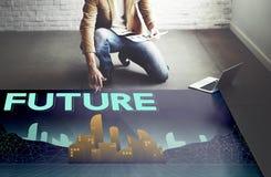 Il futuro immagina il concetto della visione di progresso di piano dell'innovazione fotografia stock