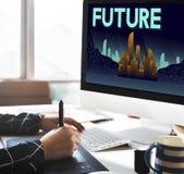 Il futuro immagina il concetto della visione di progresso di piano dell'innovazione immagini stock