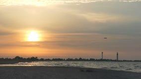 Il gabbiano sorvola il litorale splendido al tramonto nel slo-Mo archivi video