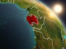 Il Gabon da spazio durante l'alba Immagini Stock Libere da Diritti