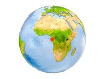 Il Gabon sul globo isolato Fotografia Stock Libera da Diritti
