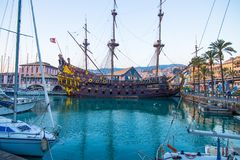 Il Galeone Neptune pirate ship in Genoa, Italy. stock images