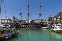 Il Galeone Neptune pirate ship in Genoa, Italy. The ship was constructed for Roman Polanski 1986 film entitled Pirates stock images