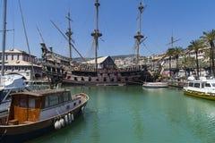 Il Galeone Neptune pirate ship in Genoa, Italy. The ship was constructed for Roman Polanski 1986 film entitled Pirates stock photo