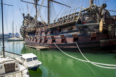 Il Galeone Neptune pirate ship in Genoa, Italy. The ship was constructed for Roman Polanski 1986 film entitled Pirates stock photos