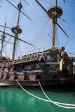 Il Galeone Neptune pirate ship in Genoa, Italy. The ship was constructed for Roman Polanski 1986 film entitled Pirates stock image