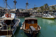 Il Galeone Neptune pirate ship in Genoa, Italy. The ship was constructed for Roman Polanski 1986 film entitled Pirates stock photography