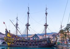 Il Galeone Neptune pirate ship near Acquarium in Genoa, Italy. royalty free stock photography