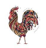 Il gallo dell'illustrazione ha ispirato lo stile dello zentangle Immagini Stock