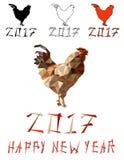 Il gallo di colore leggero ha isolato un simbolo poligonale di vettore del poligono di 2017 sul calendario cinese Fotografie Stock