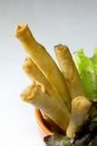 Il gamberetto fritto nel grasso bollente rotola su bianco Fotografia Stock