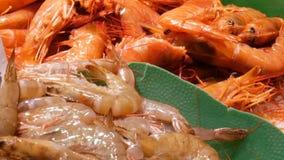 Il gambero dei gamberetti dei frutti di mare compensa la deriva sul contro mercato, frutti di mare nella La Boqueria del mercato  stock footage