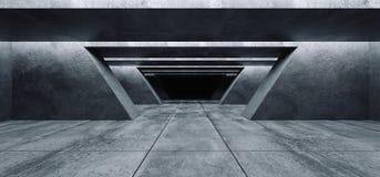 Il garage vuoto Hall Tunnel Corridor Spaceship Rough dello spazio scuro di lerciume concreto futuristico moderno del fondo strutt illustrazione vettoriale