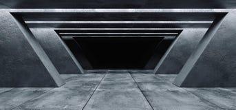 Il garage vuoto Hall Tunnel Corridor Spaceship Rough dello spazio scuro di lerciume concreto futuristico moderno del fondo strutt illustrazione di stock