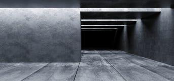 Il garage vuoto Hall Tunnel Corridor Spaceship Rough dello spazio scuro di lerciume concreto futuristico moderno del fondo strutt royalty illustrazione gratis