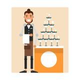 Il garcon del fumetto prepara un monticello di champagne con una ciliegia Fotografie Stock
