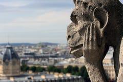 Il Gargoyle sta guardando su Parigi Fotografia Stock Libera da Diritti