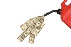 Il gas può soldi di versamento Fotografia Stock