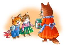Il gattino dell'estremità del mama del gatto. Fotografia Stock Libera da Diritti