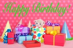 Il gattino in scatola attuale con la festa di compleanno presenta e cappelli Fotografia Stock