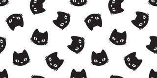 Il gattino senza cuciture di vettore della testa del gatto del modello del gatto ha isolato il bianco del fondo della carta da pa royalty illustrazione gratis