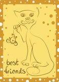 Il gatto abile ha preso il topo Immagine Stock