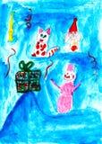 Il gatto, il coniglio ed il pupazzo di neve si rallegrano il presente, disegno del bambino royalty illustrazione gratis
