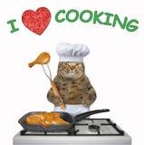 Il gatto cucina il pollo fritto royalty illustrazione gratis