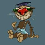 Il gatto del fumetto in cappello e vetri sorride largamente immagini stock