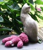 Il gatto di pietra con l'orsacchiotto rosa inzuppato riguarda il portico fotografia stock