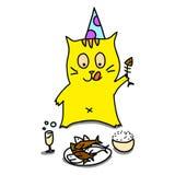 Il gatto disegnato a mano del fumetto si rilassa pranzando il partito Fotografia Stock Libera da Diritti
