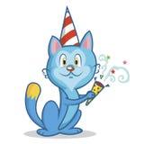 Il gatto divertente celebra il vettore di compleanno Immagini Stock