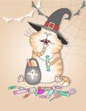Il gatto divertente mangia la caramella di Halloween illustrazione di stock
